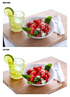 fruit salad display - before & after